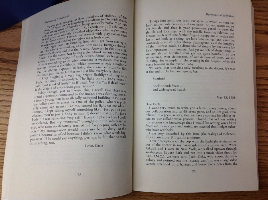 Lyn Hejinian, Carla Harryman correspondence 2