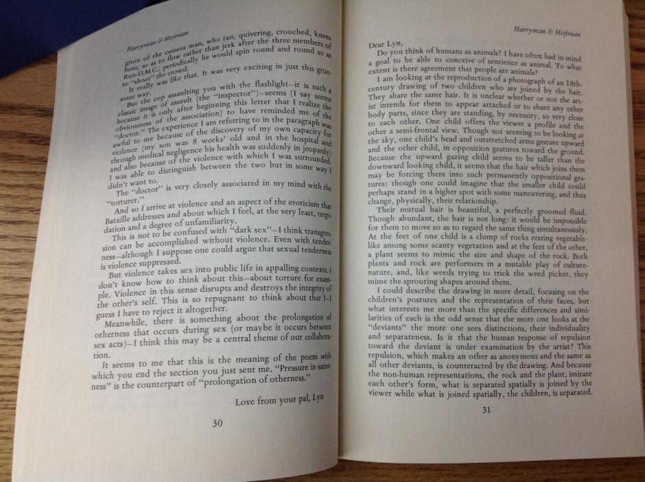 Lyn Hejinian, Carla Harryman correspondence 3